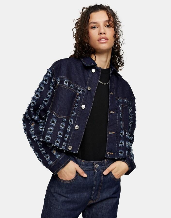 Topshop cut-out crop denim jacket in indigo