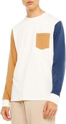 Topman Colorblock Long Sleeve Pocket T-Shirt