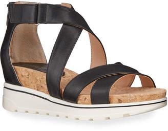 Adrienne Vittadini Chita Tumbled Leather Low-Wedge Sandals