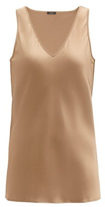 Joseph Belva V-neck Silk-satin Blouse - Camel
