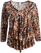 Glam Brown & Navy Tiered V-Neck Top - Plus