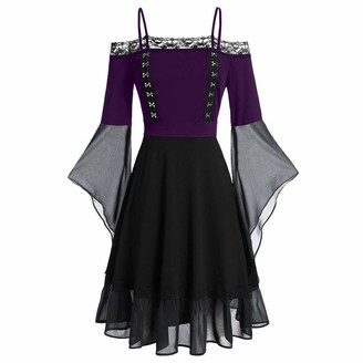 Ihaza Women iHAZA Plus Size Dresses for Women Cool Solid Gothic Criss Cross Lace Insert Ruffle Sleeve Dress Black