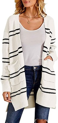 Womens Long Cardigans Chunky Color Block Striped Cable Knit Fall Cute Duster Sweaters with Pockets