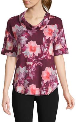 ST. JOHN'S BAY SJB ACTIVE Active-Womens Cowl Neck Elbow Sleeve T-Shirt