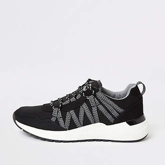 River Island Black lace-up runner trainers