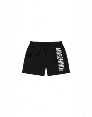 Moschino Teddy Logo Beach Boxer Man Black Size 4a It - (4y Us)