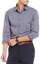 Hart Schaffner Marx Jacquard Pattern Long-Sleeve Woven Shirt
