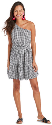 Vineyard Vines Gingham Seersucker One Shoulder Dress