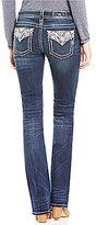 Miss Me Embellished Flap Pocket Low-Rise Slim Bootcut Jeans