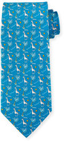 Salvatore Ferragamo Giraffe & Palm Tree Silk Tie, Aqua
