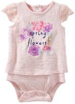 "Osh Kosh Baby Girl Spring Flowers"" Graphic Mock-Layered Bodysuit"