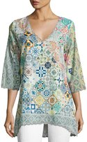Johnny Was Jessner 3/4-Sleeve Print Tunic, Multi