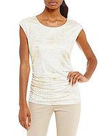 Calvin Klein Metallic Foil Print Knit Jersey Cap Sleeve Top