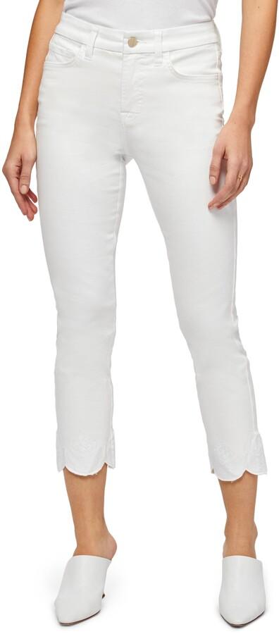 Jen7 Embroidered Scallop Hem Crop Straight Leg Jeans