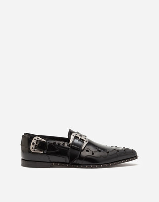 Dolce & Gabbana Slippers In Star Calfskin With Stone Embroidery