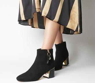 Office Aeriel Side Zip Metal Heel Boots Black With Gold Hardware