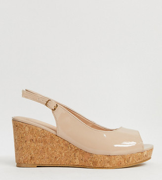 Simply Be extra wide fit peep toe wedges in light pink