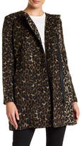 Joe Fresh Faux Leather Trim Leopard Print Coat
