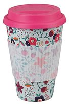 Cambridge Silversmiths CM04436 Poppy Flowers Bamboo Eco Travel Mug, Pink, 9 x 9 x 13 cm