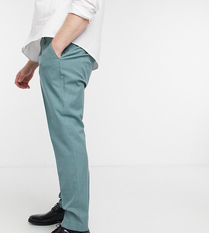 Topman Big & Tall skinny suit trousers in sage