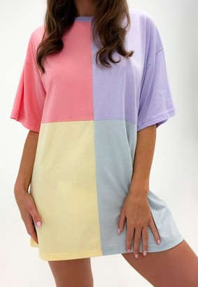 Missguided Petite Pink Color Block Oversized T Shirt Dress