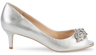 Badgley Mischka Edith Embellished Metallic Leather Pumps