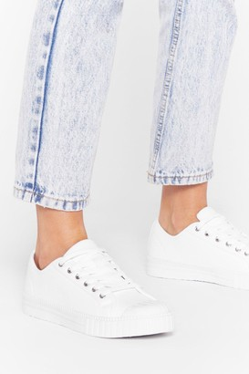 Nasty Gal Womens Nice Toe Meet You Lace-Up Canvas Trainers - White - 3