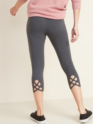 Old Navy High-Waisted Cropped Lattice-Hem Leggings