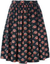 Prada lips print pleated skirt