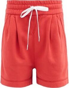 Miu Miu Logo-print Drawstring Cotton-jersey Shorts - Red