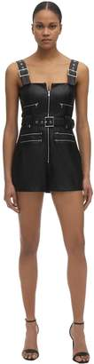 Weworewhat Moto Short Faux Leather Overalls