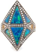 NOOR FARES Diamond, sapphire, opal & grey-gold ring