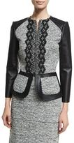 Oscar de la Renta 3/4-Sleeve Zip-Front Leather/Tweed Peplum Jacket, Black/Ivory