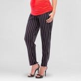 Expected by Lilac Maternity Vertical Stripe Print Ankle Pant - Black/Ivory