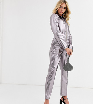 Wild Honey zip front jumpsuit in metallic faux leather-Silver
