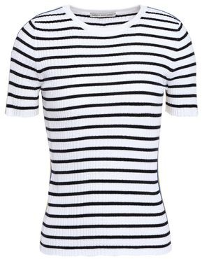 Autumn Cashmere Cotton By Striped Ribbed Cotton-blend Top