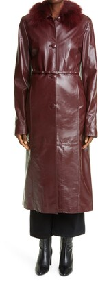 Saks Potts Genuine Shearling Collar Leather Coat