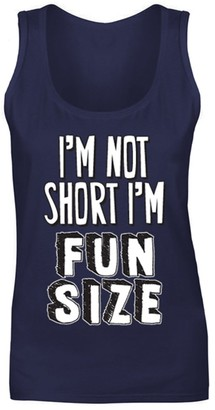 Flip Womens I'm Not Short I'm Fun Size Funny Slogan Joke Vest Tank Top Navy Blue UK 14 (XL)
