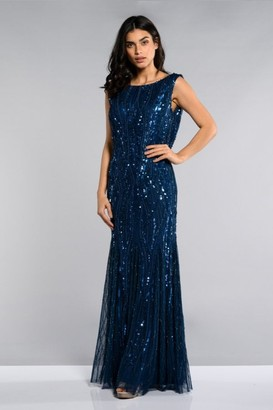 Gatsbylady London Catherine Maxi Prom Dress with Cowl Back Neck in Midnight Blue