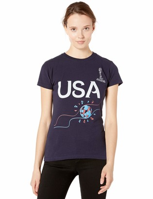 Fifth Sun Officially Licensed FIFA Football Flame Junior's Crew Tee Navy xx-Large