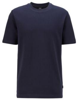 HUGO BOSS Regular Fit T Shirt In Bubble Structured Stretch Cotton - Dark Blue