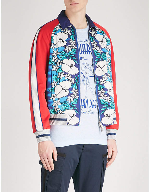 DSQUARED2 Hawaiian-print satin bomber jacket