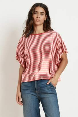 Velvet by Graham & Spencer ADALINE STRIPE LINEN KNIT RUFFLE SLEEVE TEE