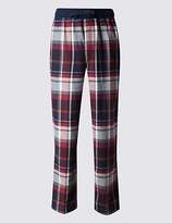 M&s Collection Pure Cotton Stay Soft Checked Pyjama Bottoms