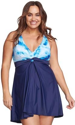 Plus Size Mazu Swim Tie-Dye Knot One-Piece Swim Dress