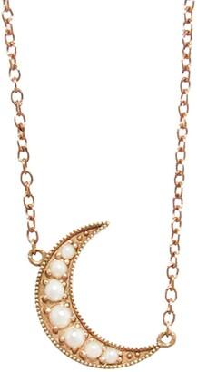 Andrea Fohrman Mini Pearl Crescent Moon Rose Gold Necklace
