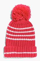 boohoo Girls Knitted Pom Pom Hat raspberry