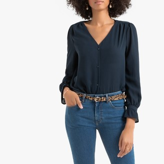 La Redoute Collections V-Neck Ruffled Blouse with Long Sleeves