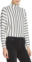 Maje Women's Mesh Stripe Crop Sweater