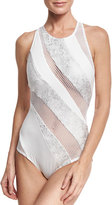 Carmen Marc Valvo Paneled Mesh High-Neck One-Piece Swimsuit, White